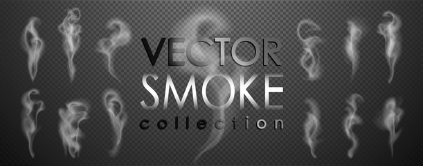 Photo sur Plexiglas Fumee Smoke vector collection, isolated, transparent background. Set of realistic white smoke steam, waves from coffee,tea,cigarettes, hot food,... Fog and mist effect.
