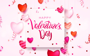 Happy holidays: Valentines day 14 february background with hearts. 3d Vector illustration. Romantic Wallpaper, wedding design for flyers, banners.