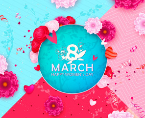 8 March Happy Women`s Day spring vector background, Paper cut flower. Floral template, Greeting card. Holiday, Origami design, Trendy backdrop for Womens and Mother's Day or romantic Valenties day