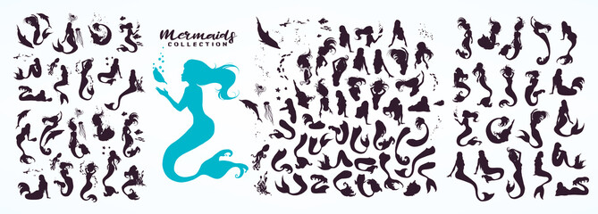 Set: ink sketch collection of mermaids and siren creator, isolated on white. Hand drawn realistic sketch of singing, sitting, floating, dancing... mermaid and sea life. Vector illustration.