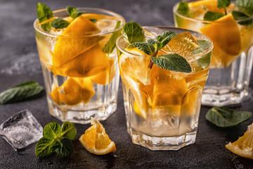 Lemon homemade cocktail/detox fruit infused water