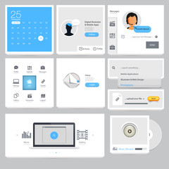 Infographics elements: Collection of colorful flat kit UI navigation elements with icons for personal portfolio website and mobile templates