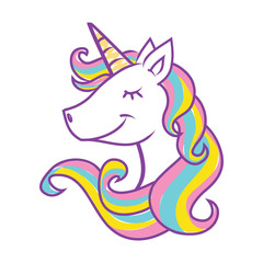 Unicorn head vector illustration on white background. Cute magical cartoon for kids.