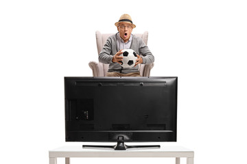 Excited mature man seated in an armchair watching soccer on television