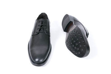 Male black leather shoe on white background, isolated product, comfortable footwear.