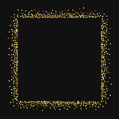 Round gold glitter. Square abstract shape with round gold glitter on black background. Comely Vector illustration.
