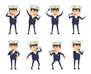 Set of handsome airline pilot characters posing with microphone. Cheerful pilot karaoke singing. Flat style vector illustration