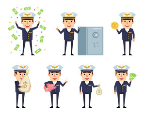 Set of handsome airline pilot characters posing with money. Cheerful pilot holding money bag, piggy bank, coin and showing other actions. Flat style vector illustration