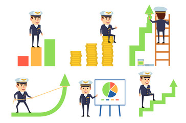 Set of handsome airline pilot characters posing with various charts. Cheerful pilot standing on growth diagram, pointing to whiteboard and showing other actions. Flat vector illustration
