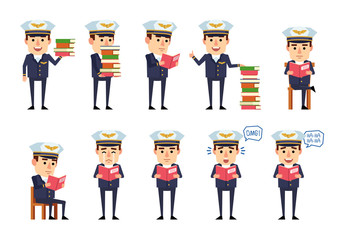 Set of handsome airline pilot characters posing with books. Cheerful pilot reading book, laughing, crying, surprised and showing other actions. Flat style vector illustration