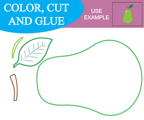 Create the image of pear (fruit).Worksheet. Color, cut and glue. Game for children.