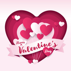 Valentines day Decorative Paper Art Illustration with Heart Shaped. For Invitation card, Posters, Brochure, Flyer, Banners.