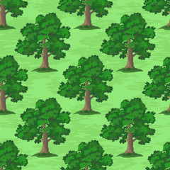 Seamless Pattern, Oak Tree, Season Summer and Spring, on Tile Green Background. Vector