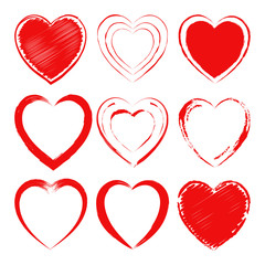 Vector set of different hand drawn hearts. Design elements for Valentine's Day greeting card, wedding invitation. Isolated on white background.