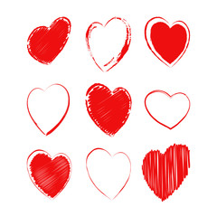 Vector set of different hearts. Heart for Valentine's Day greeting card, wedding invitation. Isolated on white background.