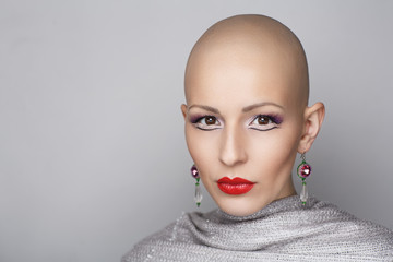 beauty bald woman