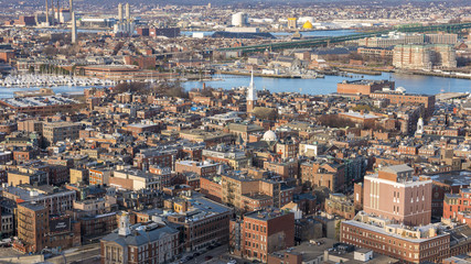 Aerial view of Boston in Massachusetts, USA showcasing its North End and Little Italy.