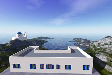 Daylight in white buildings, an island landscape, a beautiful sea and a blue sky.