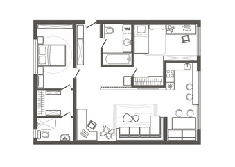 linear architectural sketch plan of two bedroom apartment