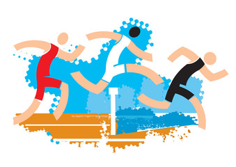 Runners on water ditch hurdle.