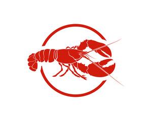 Red Circle Line Art Lobster Animal - Seafood Restaurant Illustration Symbol Logo Vector