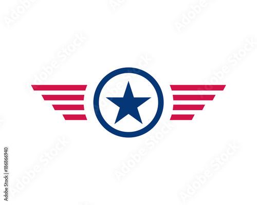 Line Art Circle Stars With Wings Symbol Vector Logo Usa Stock Image