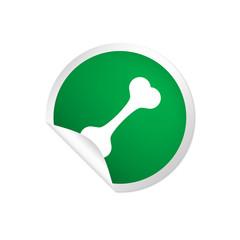 runder Sticker grün - Knochen