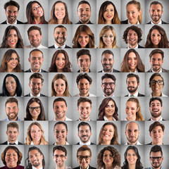 Happy and positive faces collage of business people