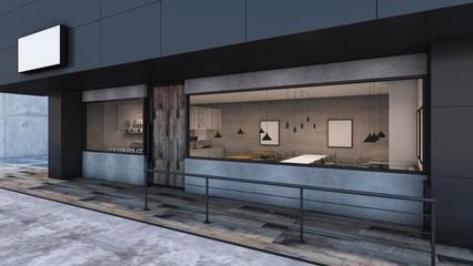 Front view Cafe shop & Restaurant design Modern Loft black metal concrete wall wood door- 3D rendering