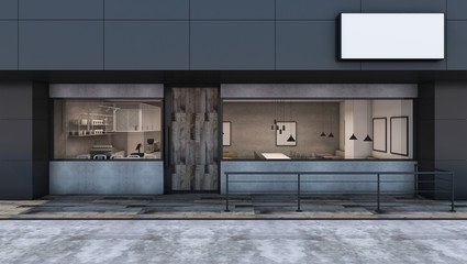 Front view Cafe shop & Restaurant design Modern Loft black metal concrete wall wood door- 3D rendering