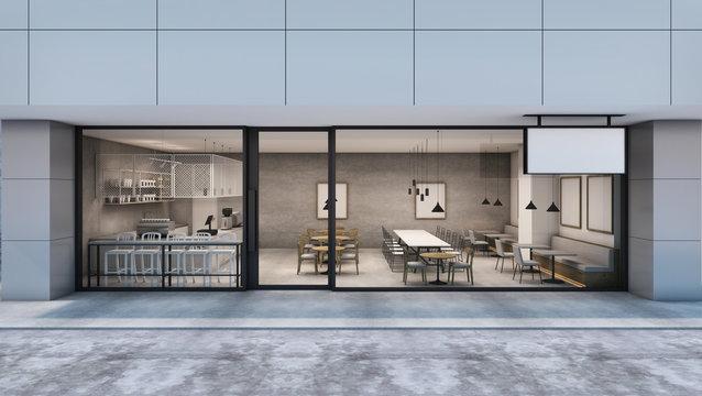 Front view Cafe shop & Restaurant design Modern Loft in the department store.- 3D rendering