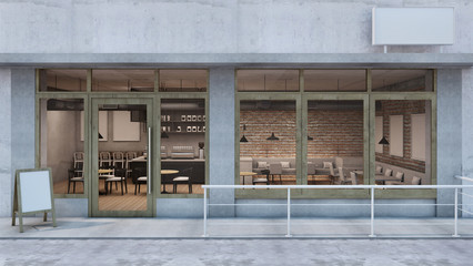 Front view Cafe shop & Restaurant design. Modern Loft counter steel black. Top counter concrete,Door frame wood, Brick Concrete wall - 3D render