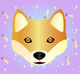 Red-haired Husky dog on gradient pattern background. Symbol of the year 2018. Cartoon Style - Cute Red Husky