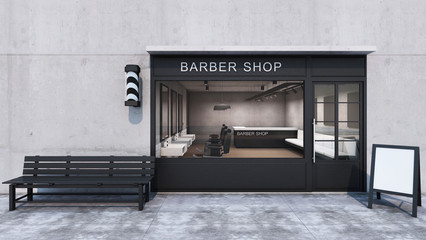 Front view Barber shop Modern & Loft design.Concrete wall, Wood floor, Black frame windows door- 3D render