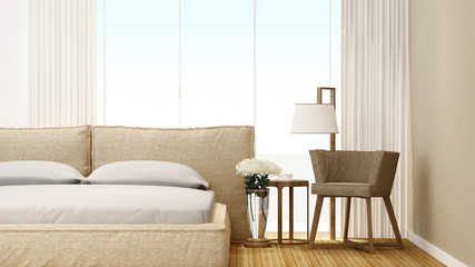 Bedroom and living area in hotel or home - bedroom artwork room for rent fo apartment or other room - 3D Rendering