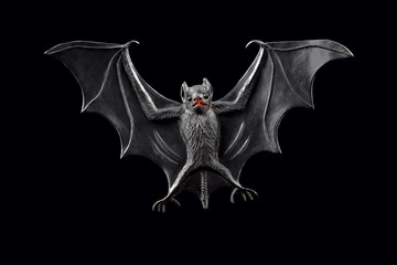 Bat stock images. Bat toy on a black background. Halloween decoration bat