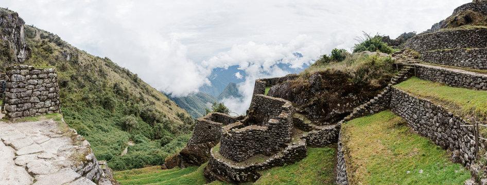 Dry stone wall on Inca trail, Inca, Huanuco, Peru, South America