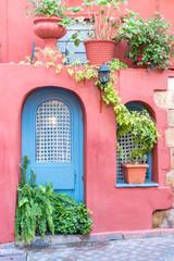 Beautiful street in Chania, Crete island, Greece. Summer landscape.
