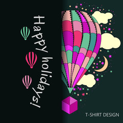 T-shirt design. balloons for flight. stars and clouds. happy vacation being held. a multicolored background. vector image