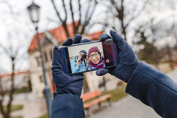 Couple taking selfie while travelling in Europe