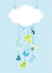 Baby Boy Card Cloud Symbols Hanging Blue