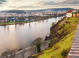 View of Prague and the Vltava River from Vysehrad Fortress viewing platform