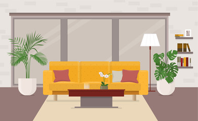 Living room interior with furniture, panoramic window and orname
