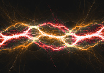 Hot burning fire lighning, plasma and energy electrical background