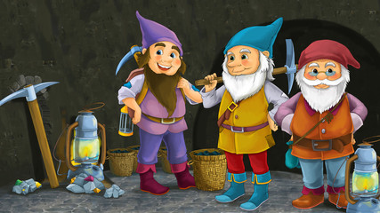 cartoon scene with happy dwarfs miners standing in the cave illustration for children