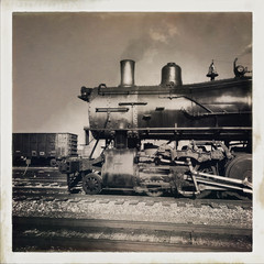 Old steam locomotive against sky