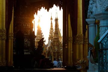 Sunset scenery at the golden Shwedagon pagoda in Yangon or Rangoon, Myanmar