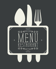 Template vector restaurant menu with Cutlery and inscriptions in curly frame in retro style