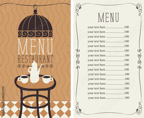 Vector Menu For A Cafe Or Restaurant With Price List And Image Of The Table
