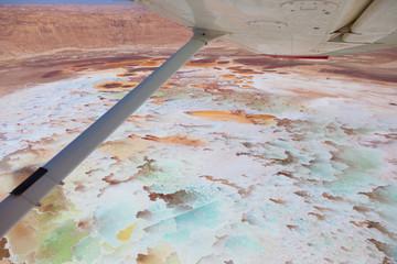 Aerial view of the Dead Sea salt pools and Ein boqeq